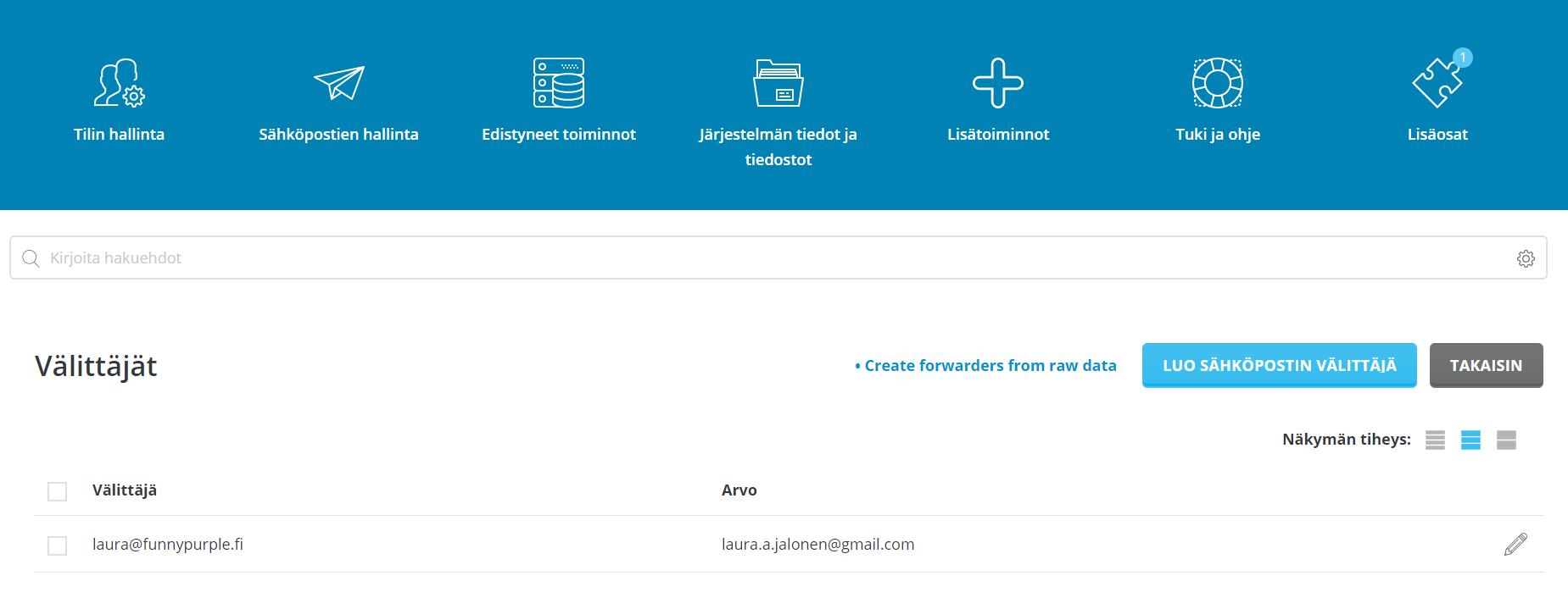 Lomavastaajan kytkeminen Gmailin kautta käytettävään oman domainin sähköpostiin 1