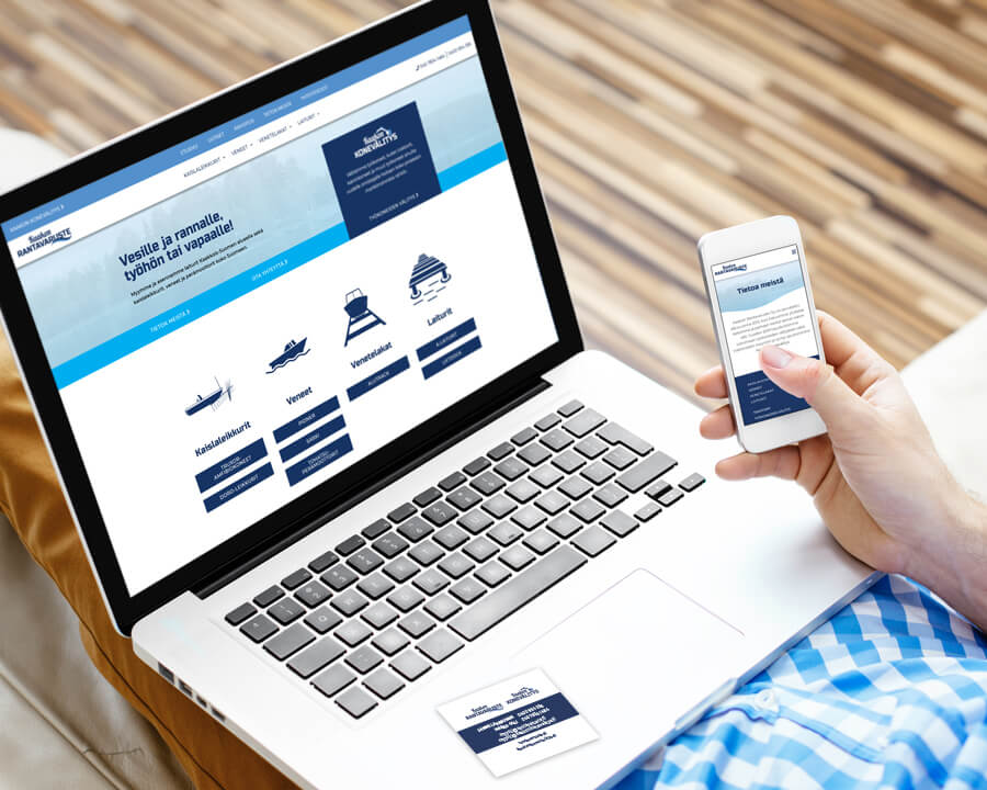 Kaakon Rantavaruste laajat WordPress-kotisivut, logosuunnittelu